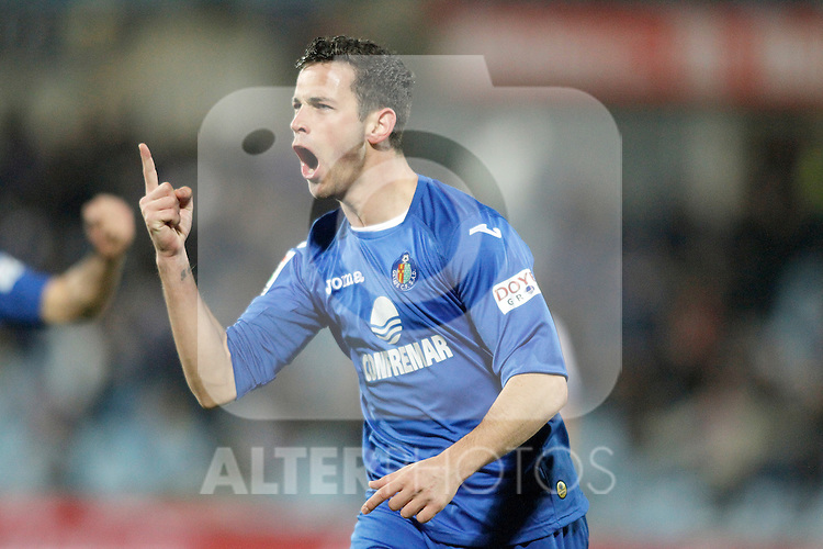 Getafe's Alvaro Vazquez celebrates during La Liga match. February 01, 2013. (ALTERPHOTOS/Alvaro Hernandez)