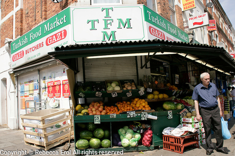 Turkish Food Market on Green Lanes in Haringey, London, UK