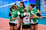18.11.2018, Halle Berg Fidel, Muenster<br />Volleyball, Bundesliga Frauen, Normalrunde, USC MŸnster / Muenster vs. VfB Suhl Lotto ThŸringen / Thueringen<br /><br />Jubel Lina Alsmeier (#8 Muenster), Mareike Hindriksen (#2 Muenster), Juliane Langgemach (#9 Muenster), Lisa Thomsen (#1 Muenster), Luisa Keller (#3 Muenster), Ivana Vanjak (#7 Muenster)<br /><br />  Foto &copy; nordphoto / Kurth