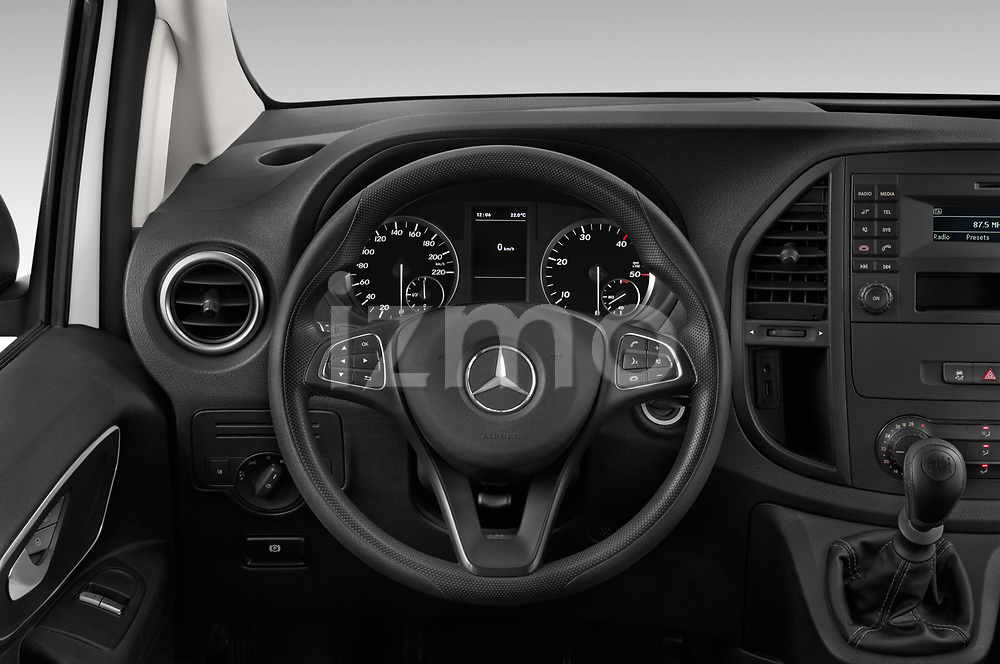 Car pictures of steering wheel view of a 2019 Mercedes Benz Vito Base 4 Door Cargo Van