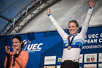 Podium women's elite:<br /> <br /> Annemarie Worst (NED) the new European Champion <br /> <br /> UEC CYCLO-CROSS EUROPEAN CHAMPIONSHIPS 2018<br /> 's-Hertogenbosch – The Netherlands<br /> Women's Elite Race