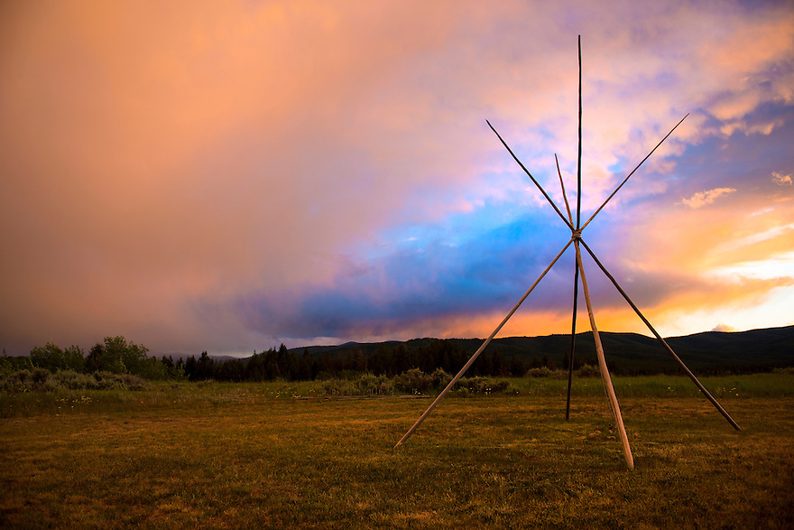 The sunset lights up the sky at Big Hole National Battlefield near Wisdom, Montana.