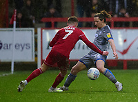 Lincoln City's Aaron Lewis vies for possession with Accrington Stanley's Jordan Clark<br /> <br /> Photographer Andrew Vaughan/CameraSport<br /> <br /> The EFL Sky Bet League One - Accrington Stanley v Lincoln City - Saturday 15th February 2020 - Crown Ground - Accrington<br /> <br /> World Copyright © 2020 CameraSport. All rights reserved. 43 Linden Ave. Countesthorpe. Leicester. England. LE8 5PG - Tel: +44 (0) 116 277 4147 - admin@camerasport.com - www.camerasport.com
