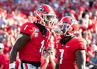 ATHENS, GA - SEPTEMBER 7: D'Andre Swift #7 celebrates his touchdown with George Pickens #1 during a game between Murray State Racers and University of Georgia Bulldogs at Sanford Stadium on September 7, 2019 in Athens, Georgia.