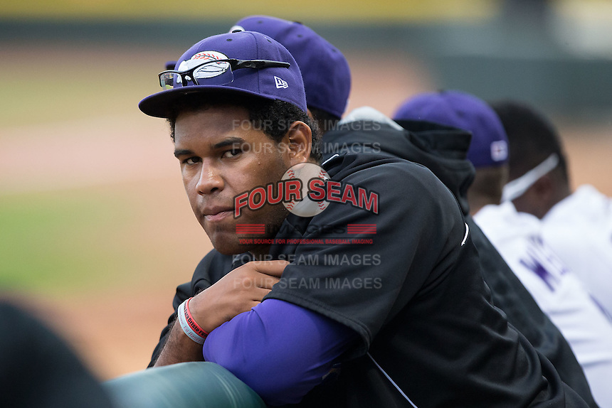 Winston-Salem Dash relief pitcher Jefferson Olacio (39) watches the action from the dugout during the game against the Myrtle Beach Pelicans at BB&T Ballpark on April 18, 2015 in Winston-Salem, North Carolina.  The Pelicans defeated the Dash 8-4 in game two of a double-header.  (Brian Westerholt/Four Seam Images)