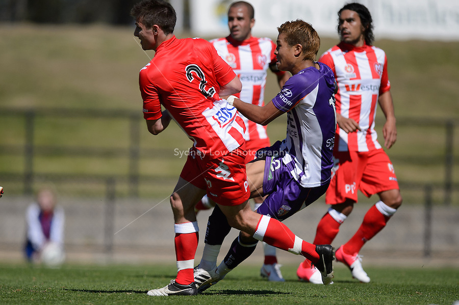 MELBOURNE - 22 September: Ryo NAGAI of the Glory  kicks for goal at a pre-season match between Melbourne Heart and Perth Glory at Epping Stadium on 22 September 2012. (Photo by Sydney Low / syd-low.com)