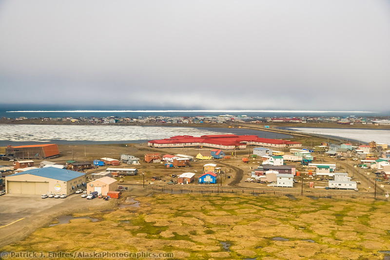 Aerial of native Alaskan Inupiaq eskimo village, Utqiagvik (Barrow), Alaska.