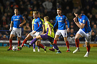 Cameron McGeehan of Portsmouth plays a pass under pressure during Portsmouth vs Exeter City, Leasing.com Trophy Football at Fratton Park on 18th February 2020