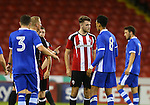 Ben Whiteman of Sheffield Utd stands up for his right to party during the U23 Professional Development League match at Bramall Lane Stadium, Sheffield. Picture date: September 6th, 2016. Pic Simon Bellis/Sportimage