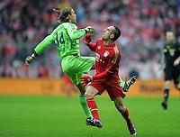 FUSSBALL   1. BUNDESLIGA  SAISON 2011/2012   23. Spieltag FC Bayern Muenchen - FC Schalke 04       26.02.2012 Tor zum 1:0, Franck Ribery (re, FC Bayern Muenchen) gegen Timo Hildebrand (li, FC Schalke 04)