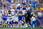 FOXBORO, MA - MAY 28: Kevin Reisman (13) of the Limestone Saints during the Division II Men's Lacrosse Championship held at Gillette Stadium on May 28, 2017 in Foxboro, Massachusetts. (Photo by Larry French/NCAA Photos via Getty Images)