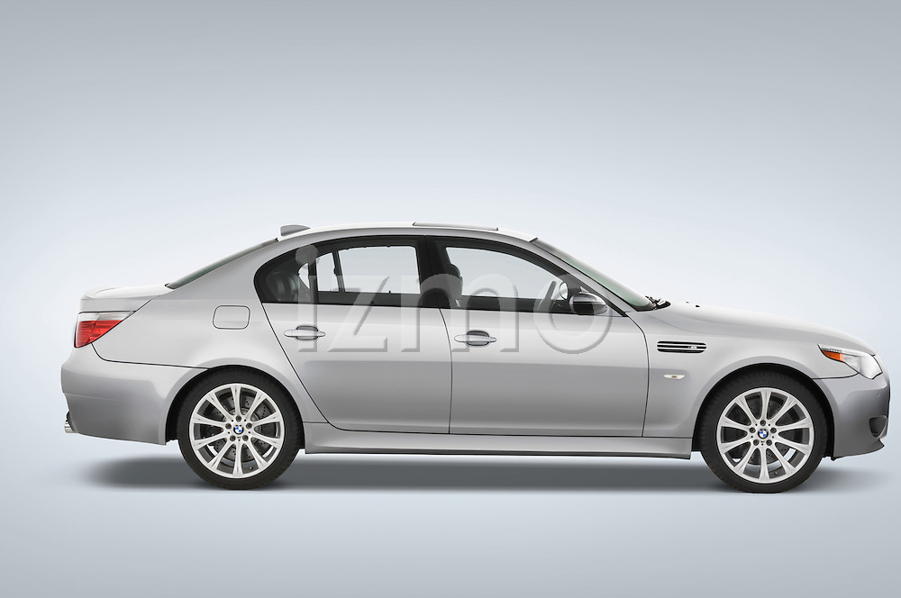 Passenger side profile view of a 2008 BMW M5 Sedan