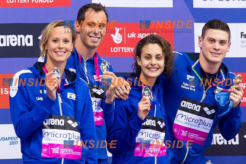 Team ITA ITALY silver medal<br /> London, Queen Elizabeth II Olympic Park Pool <br /> LEN 2016 European Aquatics Elite Championships <br /> Swimming<br /> Mixed 4x100m medley final <br /> Day 09 17-05-2016<br /> Photo Giorgio Perottino/Deepbluemedia/Insidefoto
