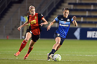 Kansas City, Kansas - Saturday April 16, 2016: FC Kansas City midfielder Mandy Laddish (7) moves the ball against Western New York Flash defender Alanna Kennedy (8 ) during the second half at Children's Mercy Park. Western New York won 1-0.