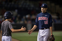 University of Arizona Wildcats starting pitcher Cody Deason (15) walks off the field between innings of a game against the North Dakota State University Bison at Hi Corbett Field on March 9, 2018 in Tucson, Arizona. (Zachary Lucy/Four Seam Images)
