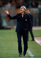 Calcio, Serie A: Roma, stadio Olimpico, 25 ottobre 2017.<br /> Crotone's coach Davide Nicola speaks to his players during the Italian Serie A football match between AS Roma and Crotone at Rome's Olympic stadium, October 25, 2017.<br /> UPDATE IMAGES PRESS/Isabella Bonotto
