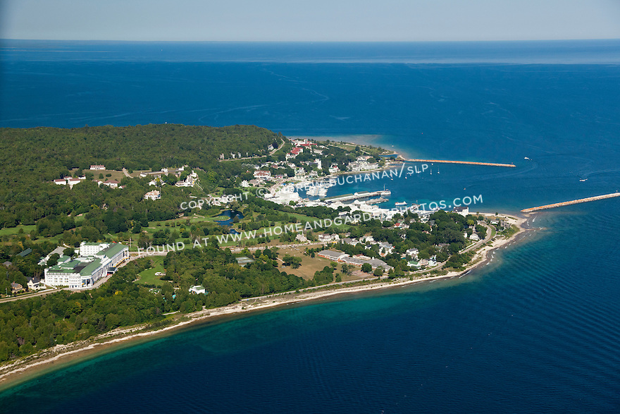 The Grand Hotel, the Village and harbor, Mackinac Island, Michigan