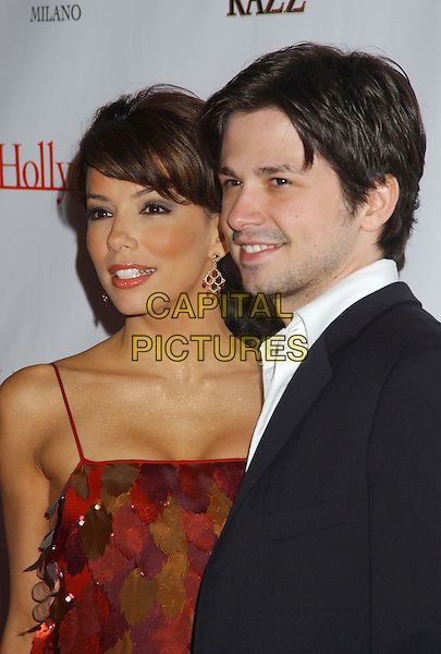EVA LONGORIA & FREDDY RODRIQUEZ.Movieline's Hollywood Life Honors 2004 Breakthrough Awards held at the Henry Fonda Music Box Theatre. .December 12th, 2004.headshot, portrait, dangling earrings, leaves stitched on to dress.www.capitalpictures.com.sales@capitalpictures.com.© Capital Pictures.