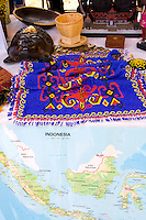 Indonesia booth displaying artistic and creative works of art. Dragon Festival Lake Phalen Park St Paul Minnesota USA