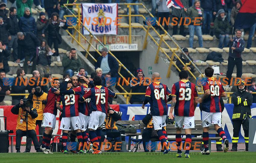 """Esultanza dopo il gol di Marco DI VAIO (Bologna) goal celebration.Bologna 11/12/2011 Stadio """"Renato Dall Ara"""".Serie A 2011/2012.Football Calcio Bologna Vs Milan.Foto Insidefoto Alessandro Sabattini."""