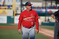 Palm Beach Cardinals manager Dann Bilardello (11) walks back to the dugout after the lineup exchange before a Florida State League game against the Lakeland Flying Tigers on May 22, 2019 at Publix Field at Joker Marchant Stadium in Lakeland, Florida.  Palm Beach defeated Lakeland 8-1.  (Mike Janes/Four Seam Images)