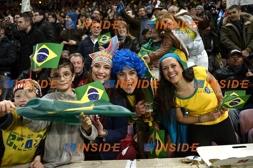 tifosi del Brasile  .Ginevra 21/03/2013 Stade De Geneve.Football Calcio Incontro Amichevole  2012/13.Brasile vs Italia / Brazil Vs Italy .Foto Insidefoto Federico Tardito