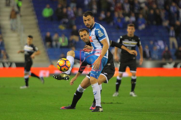 League Santander 2016/2017. Game: 13.<br /> RCD Espanyol vs CD Leganes: 3-0.<br /> Javi Fuego vs Victor Diaz.