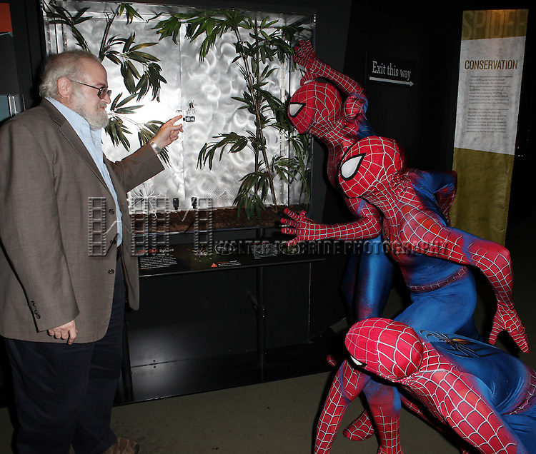 Spider-man cast  from Broadway's 'Spider-Man Turn Off The Dark'  visit with Norman Platnik curator of  'Spiders Alive!' at the American Museum of Natural History in New York City on 9/18/2012.