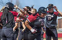 NWA Democrat-Gazette/BEN GOFF @NWABENGOFF<br /> Alyssa Kumiyama (25), South Carolina designated hitter, runs through her teammates after hitting a two-run home run in the 7th inning vs Arkansas Sunday, March 17, 2019, at Bogle Park in Fayetteville.