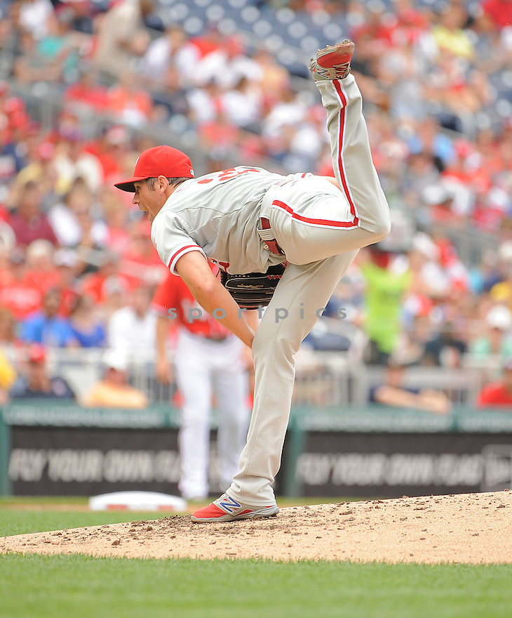 Philadelphia Phillies Cole Hamels (35) during a game against the Washington Nationals on August 3, 2014 at Nationals Park in Washington, DC. The Nationals beat the Phillies 4-0.