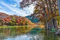 Fall at Garner State Park - Texas Landscape Canvas and Prints - Garner State Park with fall colors in the trees along the Frio river in the Texas hill country. Garner State Park is a favorite park to catch some fall colors and this year we were just in time for the autumn foliage.  The water was up and running fast from some recent rains so some areas were not available and the water was deeper than normal. You can view the tree  lined frio river with Old Baldy in the background.