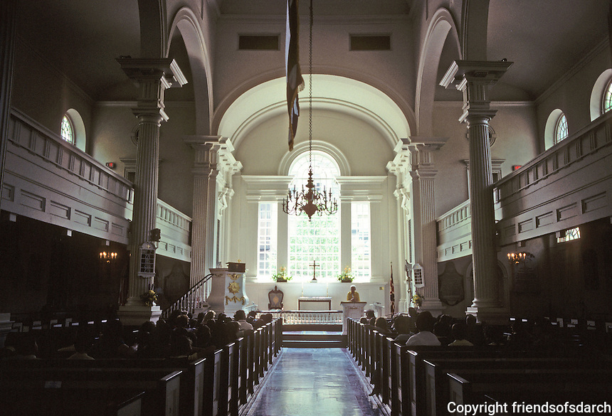 "Philadelphia: Christ Church, interior--1727-1744. Palladian window and ""wine-glass"" pulpit."