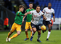 Bolton Wanderers' Josh Magennis competing with Preston North End's Ryan Ledson  <br /> <br /> Photographer Andrew Kearns/CameraSport<br /> <br /> The EFL Sky Bet Championship - Bolton Wanderers v Preston North End - Saturday 9th February 2019 - University of Bolton Stadium - Bolton<br /> <br /> World Copyright © 2019 CameraSport. All rights reserved. 43 Linden Ave. Countesthorpe. Leicester. England. LE8 5PG - Tel: +44 (0) 116 277 4147 - admin@camerasport.com - www.camerasport.com