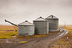Grain tanks, roadway, northern Ore.