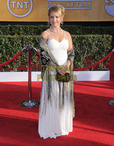 Gabrielle Carteris.Arrivals at the 19th Annual Screen Actors Guild Awards at the Shrine Auditorium in Los Angeles, California, USA..27th January 2013.SAG SAGs full length white dress shawl fringed brown clutch bag beige.CAP/DVS.©DVS/Capital Pictures.