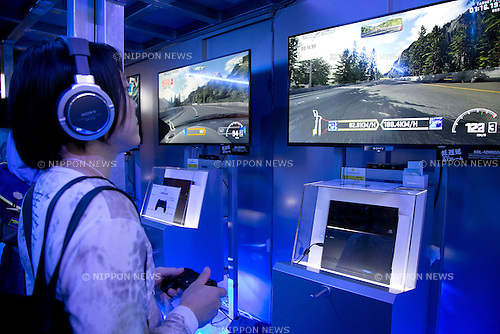 Visitors play Play Station games at Tokyo Game Show,  September 20, 2013. The Tokyo Game Show one of the world's biggest trade show for video game developers brings exhibitors from 33 different countries and regions, 352 companies and organizations, opens from September 19 to 22 at the International Convention Complex Makuhari Messe in Chiba. (Photo by Rodrigo Reyes Marin/AFLO)