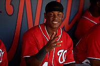 Washington Nationals Junior Martina (4) in the dugout during an Instructional League game against the Miami Marlins on September 26, 2019 at FITTEAM Ballpark of The Palm Beaches in Palm Beach, Florida.  (Mike Janes/Four Seam Images)