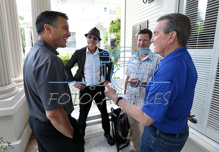 From left, Gov. Brian Sandoval, Gary Fisher, Todd Sadow and Carson City Mayor Bob Crowell kick off the Epic Rides Carson City Off-Road during a ceremony at the Governor's Mansion in Carson City, Nev., on Friday, June 17, 2016.<br />