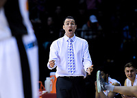 Hawks coach Zico Coronel during the national basketball league match between Cigna Wellington Saints and Hawkes Bay Hawks at TSB Bank Arena in Wellington, New Zealand on Sunday, 27 May 2018. Photo: Dave Lintott / lintottphoto.co.nz