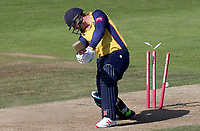 Simon Harmer of Essex is bowled by Kyle Abbott during Hampshire vs Essex Eagles, Vitality Blast T20 Cricket at the Ageas Bowl on 25th August 2019