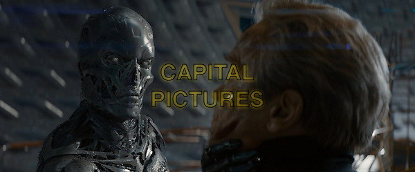 Terminator Genisys (2015) <br /> Series T- Robot and Arnold Schwarzenegger <br /> *Filmstill - Editorial Use Only*<br /> CAP/KFS<br /> Image supplied by Capital Pictures