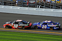 Denny Hamlin (#18) and Joey Logano (#20)