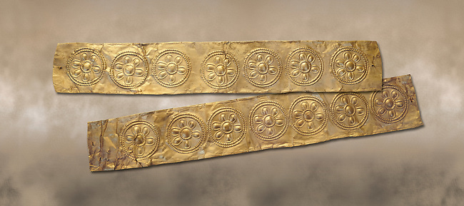 Mycenaean Gold decrated bands  from Grave IV, Grave Circle A, Myenae, Greece. National Archaeological Museum Athens. 16th Cent BC.