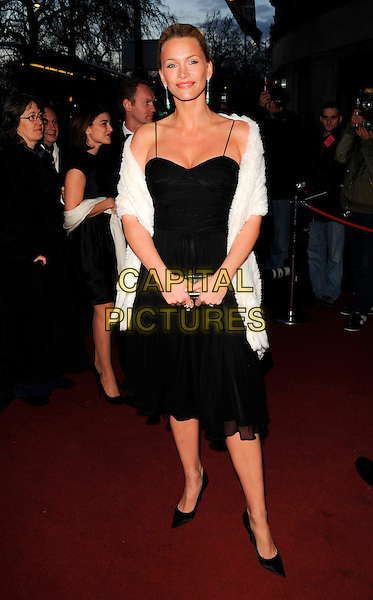NATASHA HENSTRIDGE.Attending the Laurence Olivier Awards, Grosvenor House Hotel, London, England, March 9th 2008..full length black dress white wrap shawl.CAP/CAN.?Can Nguyen/Capital Pictures