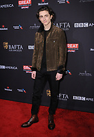 06 January 2018 - Beverly Hills, California - Timothee Chalamet. 2018 BAFTA Tea Party held at The Four Seasons Los Angeles at Beverly Hills in Beverly Hills.    <br /> CAP/ADM/BT<br /> &copy;BT/ADM/Capital Pictures