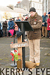Remembrance & Commeration: Padraigh Nolan of the Listowel Military Tattoo group reading the names of all those from North Kerry who died in the great wars  at the  Remembrance & Commeration ceremony in the Square, Listowel on Sunday last.