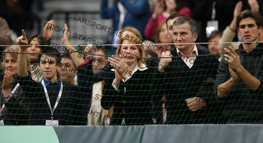 Tenis, Davis Cup 2010.Serbia Vs. USA.Novak Djokovic (SRB) Vs. John Isner (USA).from left, Djordje Djokovic, Dijana Djokovic, Goran Djokovic and Marko Djokovic.Belgrade, 07.03.2010..foto: Srdjan Stevanovic/Starsportphoto ©