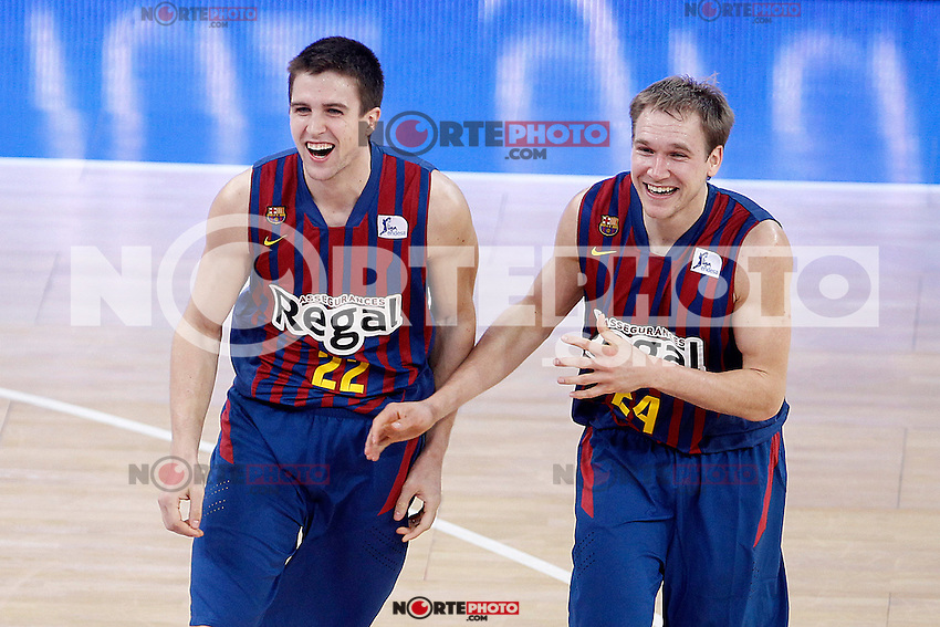FC Barcelona Regal's Xabi Rabaseda (l) and Brad Oleson celebrate the victory after Spanish Basketball King's Cup match.February 07,2013. (ALTERPHOTOS/Acero) /Nortephoto