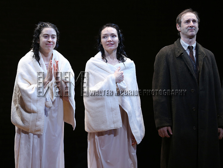 Adina Verson, Katrina Lenk and Richard Topal during the Broadway Opening Night Performance Curtain Call Bows for  'Indecent' at The Cort Theatre on April 18, 2017 in New York City.