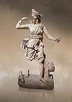 Roman statue of Hunting Artemis .Marble. Perge. 2nd century AD. Inv no .Antalya Archaeology Museum; Turkey. Against a warm art background.
